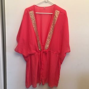 BKE CORAL SWIMSUIT COVER UP TOP W FRONT TIE